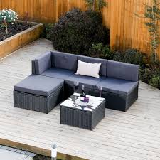 corner furniture piece. 5 Piece Faro Modular Rattan Corner Sofa Set In Black With Dark Cushions Furniture K