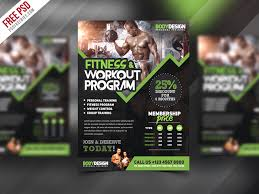 Free Gym Workout Chart Free Psd Gym Fitness Workout Program Flyer Psd Template By