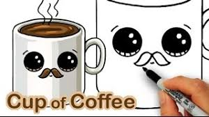2.draw eyebrows, eyes and mouth on the bottle. How To Draw A Cartoon Cup Of Coffee Cute And Easy With Mustache Youtube