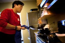 chef ming tsai prepares food in the here now kitchen jesse costa here now