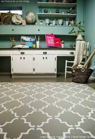 paint a stenciled diy rug on your concrete floor royal design studio