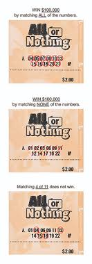 All Or Nothing Wisconsin Lottery