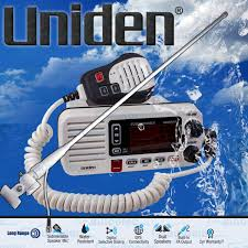 uniden um455 vhf boat marine radio two way 2 way dual speaker mic antenna kit