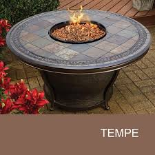 outdoor set round and agio tempe 48 inch round slate top gas fire pit table design