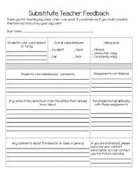 teacher feedback form learning how to be a good substitute teacher teacher substitute