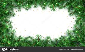 Winter Holiday Background Border Christmas Tree Branches
