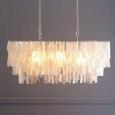 Image Panton West Elm Large Rectangle Hanging Capiz Chandelier White West Elm