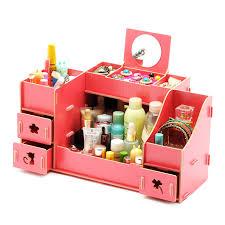 creative diy wooden cosmetic storage box multi function cardboard office desktop storage bo makeup organizer