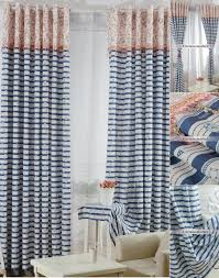 navy blue striped curtains in nautical style with stars