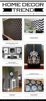 cutting edge stencils shares stenciled spaces inspired from the recent black and white home decor trend