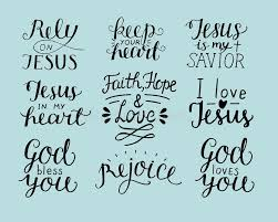 Christian Quotes On Hope And Faith Best of Set Of 24 Hand Lettering Christian Quotes God Bless You Rely On