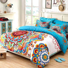 orange and blue bedding sets rust orange blue yellow and white tribal style exotic gypsy themed orange and blue bedding sets