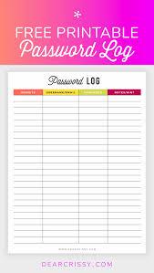 Password Log Free Printable Password Log Organize Your Life Printables