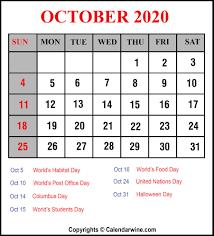 Download Printable October 2020 Calendar Template Pdf Word