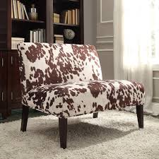 wicker park brown faux cow hide fabric 2 seater accent loveseat by inspire q bold