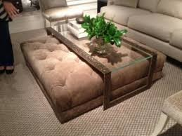 Elegant Glass Coffee Table With Ottomans Underneath Ideas