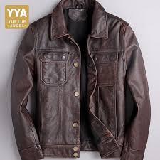 italy designer motorcycle mens washed cow genuine leather jacket vintage biker slim fit coat chaqueta cuero