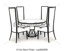table and chairs drawing. chairs with round table isolated on - csp9502838 and drawing t