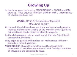 five main themes in to kill a mockingbird good evil and human growing up in the three years covered by mockingbird scout and jem grow up