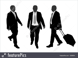 Silhouettes And Outlines Business People Walking Stock