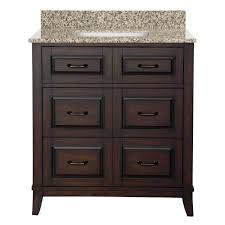 Dark bathroom vanity Remodel Bath Vanity In Dark Espresso With Granite Vanity Top In Mohave Beige The Home Depot Home Decorators Collection Bramerton 31 In Bath Vanity In Dark