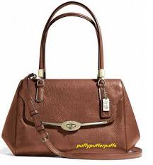 NWT COACH MADISON LEATHER MADELINE EAST WEST SATCHEL LIGHT GOLD CHESTNUT  F25166