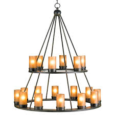 black wrought iron rustic lodge tiered 18 light candle chandelier pertaining to decor 6