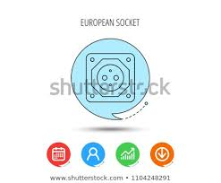 European Socket Icon Electricity Power Adapter Stock Vector