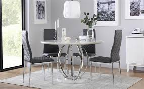 gallery savoy round white marble and chrome dining table