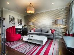 Bold Silver And Red Color Scheme For Textured Modern Living Room Wall Decor  (Image 3