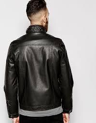 asos asos barneys faux leather biker jacket bernese originals baicarfake leather jacket men s jacket coat brown brown 637408 overseas limited japan