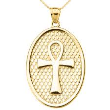 egyptian oval cross pendant necklace in 14k gold