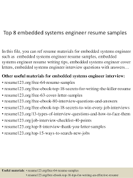 Top 8 embedded systems engineer resume samples In this file, you can ref  resume materials ...
