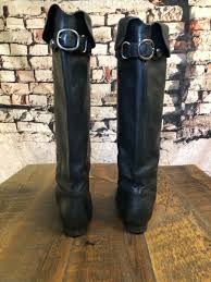 coach benita womens black soft leather boots tall knee high riding boots size 9b
