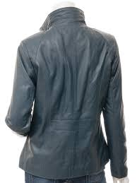 womens leather jacket in blue bryant back