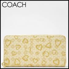 To coach COACH wallet ☆ regular outlet ☆ 12 31! ☆ Waverly heart Coe Ted  canvas accordion zip long wallet 50920 BIGGD (light khaki X gold)
