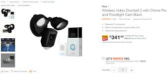 Ring Flood Light Home Depot Today Only Ring Video Doorbell 2 Chime Pro And Floodlight