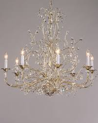 chandeliers with swarovski crystal drops on a hand wrought iron frame with antique silver leaf