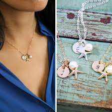 dainty starfish necklace personalized starfish charm necklace bridesmaid gift rose gold starfish wedding necklaces starfish initial 2659964