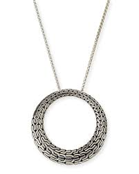 john hardyclassic chain silver large round pendant necklace 36