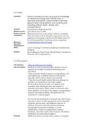 Medical Secretary Job Description Job Secretary Job Description For Resume 12