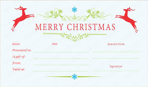 christmas gift card templates double reindeer christmas gift certificate template
