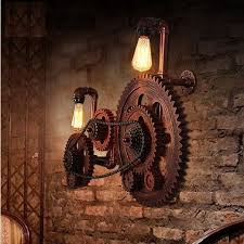 industrial style lighting fixtures home. loft style industrial creative wood gear vintage wall light for home antique water pipe lamp bedside edison sconce factory pinterest lighting fixtures q