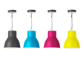 ikea hektar pendant lamp painted in each pop color placed above kitchen eating area