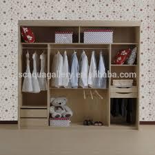 Simple Design Home Furniture Plywood Melamine Bedroom Wardrobe Without Door