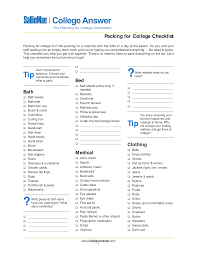 Free College Packing Checklist | Templates At Allbusinesstemplates.com