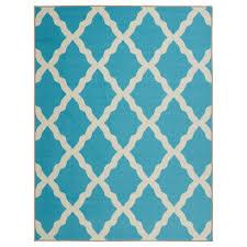 ottomanson glamour collection contemporary moroccan trellis design kids lattice area non slip kitchen and bathroom mat rug blue 3 3 x 5 0 ottomanson