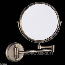 nickel 8 magnifying mirror bath makeup wall mounted swing arm 7x 2 sided