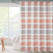 coral and brown shower curtain. intelligent design ana puckering stripe shower curtain in coral and brown