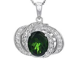 green chrome diopside sterling silver pendant with chain 2 89ctw rnh634 jtv com